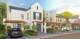 Street view of Acorn, a green residential development in Somerset West