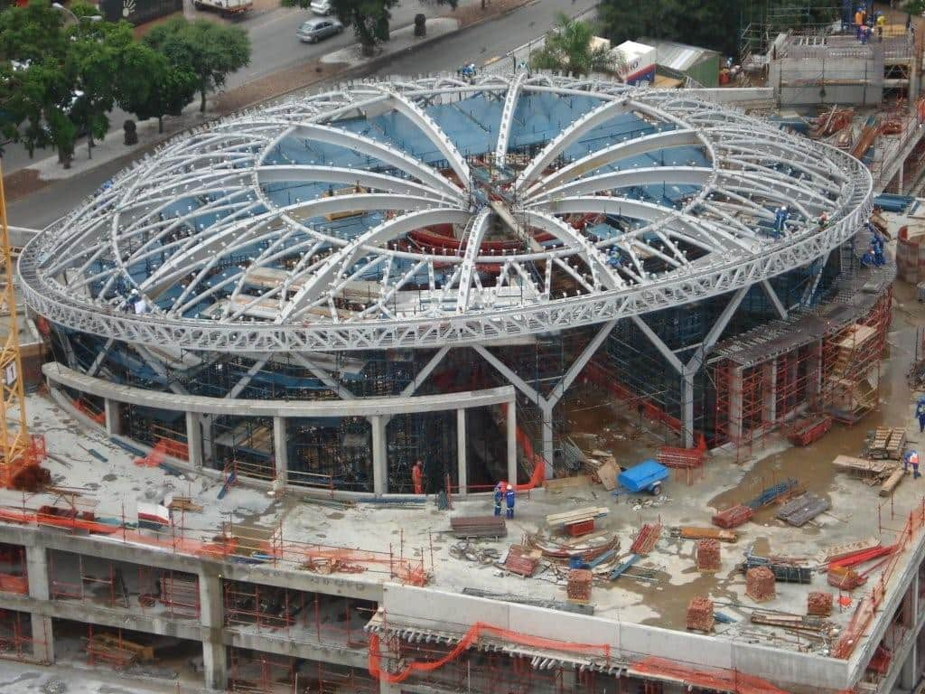 Steel roof structure completed at Sandton City Shopping Centre extension