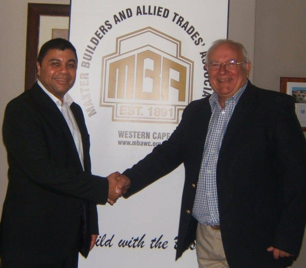Professor Francis Petersen of Cape Town Design NPC and Rob Johnson of the Master Builders Association of the Western Cape