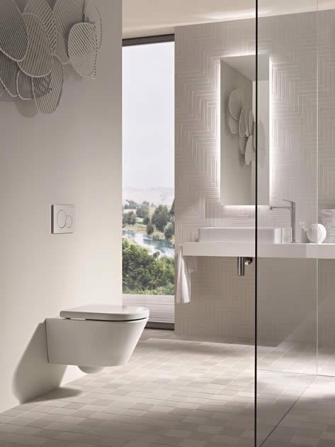 The Geberit Kombifix concealed cistern, with Sigma01 dual flush actuator plate in white.