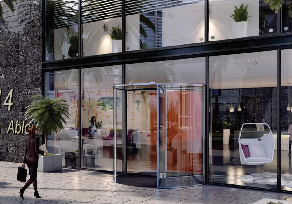 The Besam all glass RD3T and RD4T revolving doors come complete with a LED-glass ceiling