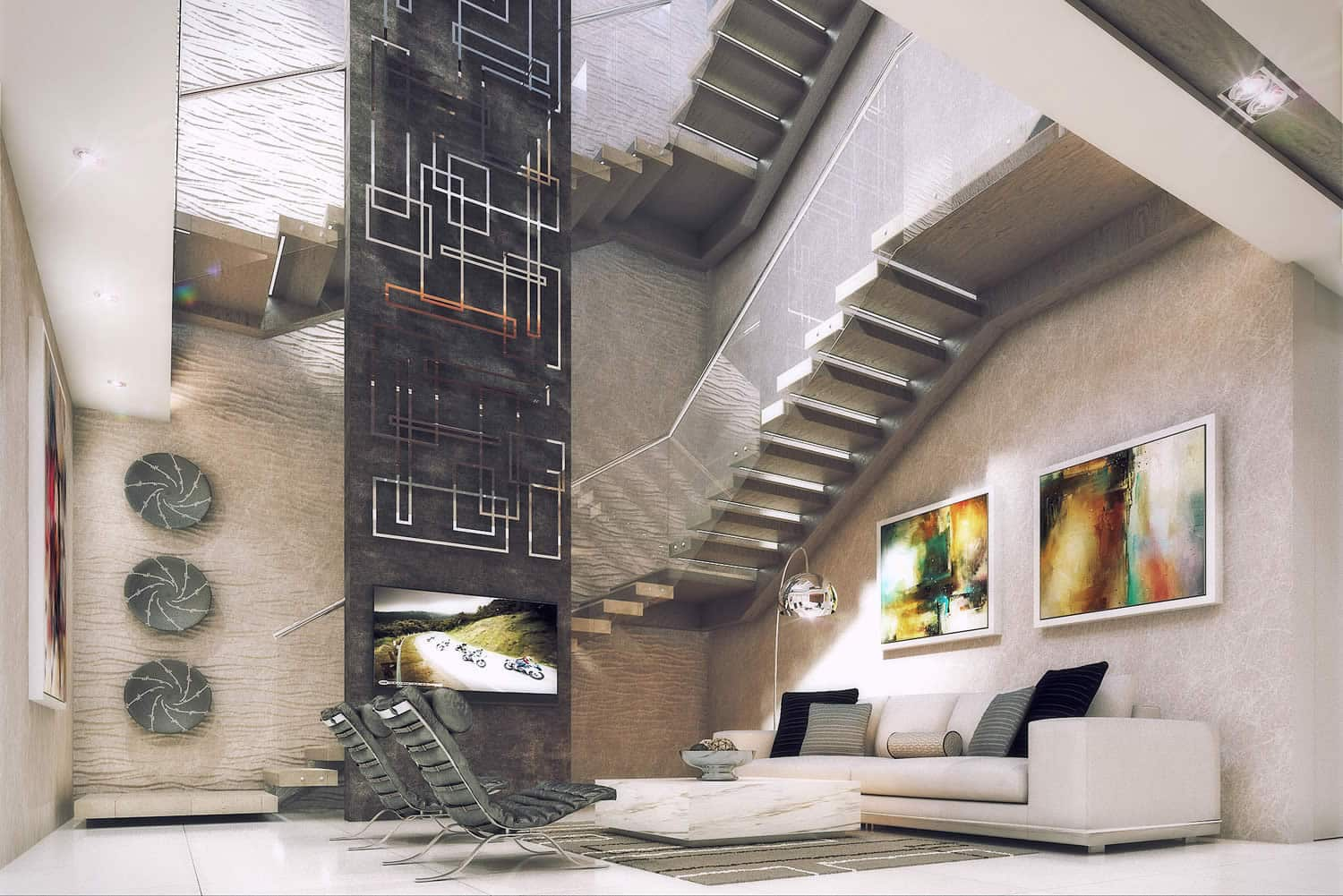 The Houghton apartment by Pellerade - Triple-Volume-Stairwell