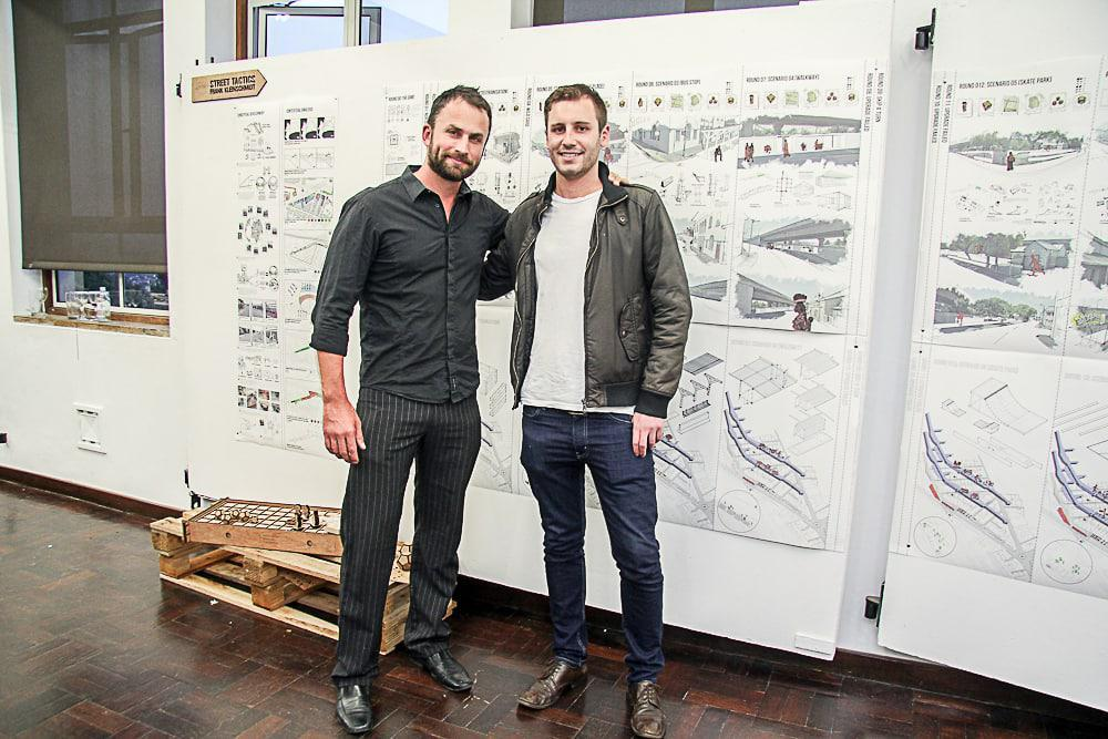 Werner Oelofse of Corobrik is pictured with Frank Kleinschmidt who has won the 2015 Corobrik Most Innovative Landscape Architecture Award