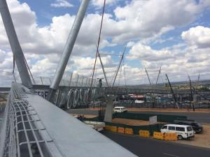 The new Cosmo Mall pedestrian bridge, designed to resemble the shape of an Acacia tree thorn.