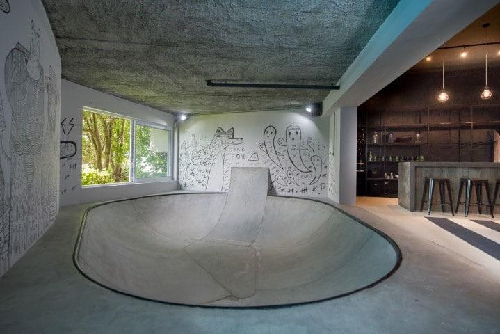 industrial-inspired dream pad for teenage boy and his friends.