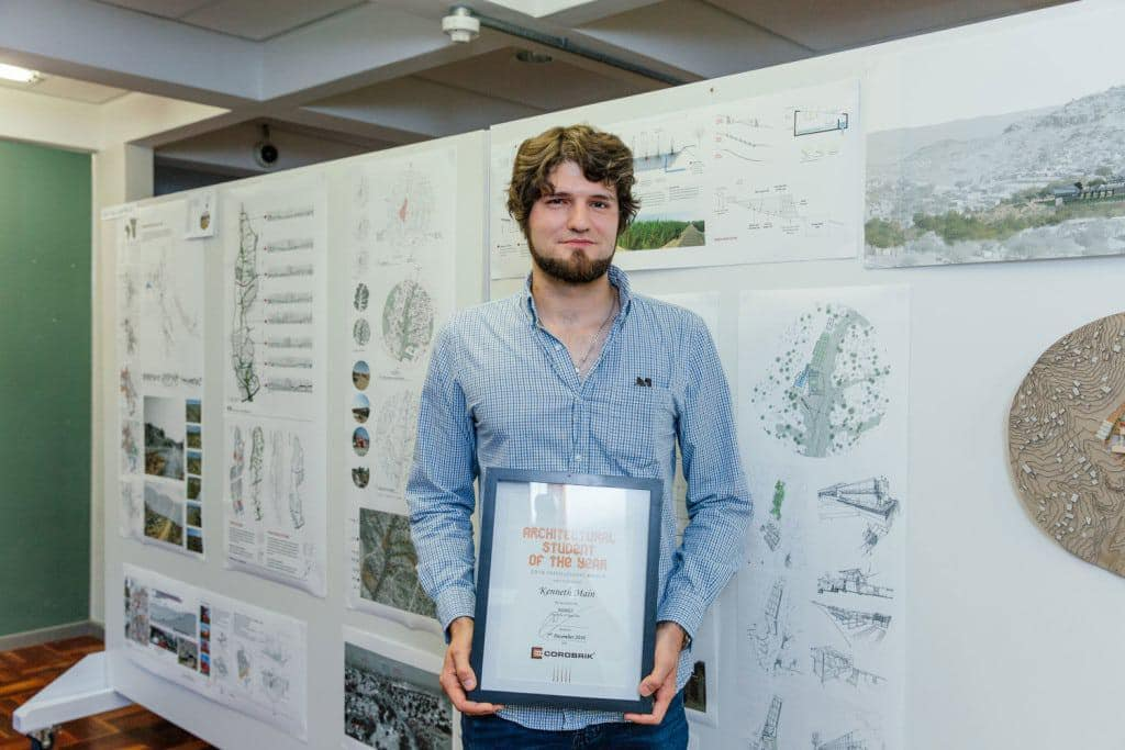 Kenneth Main will represent the University of Cape Town at the Corobrik Architectural student of the Year Awards.  He is pictured in front of his winning thesis model.  The thesis is entitled Urban Acupuncture: Architecture as a catalyst for environmental and water conservation in the context of the Kilimanjaro Informal Settlement in the Western Cape.