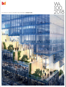 Boogertman + Partners has been ranked 96th in UK architecture journal Building Design's annual survey of the world's biggest architecture firms, the BD 2018 World Architecture 100 (WA100).