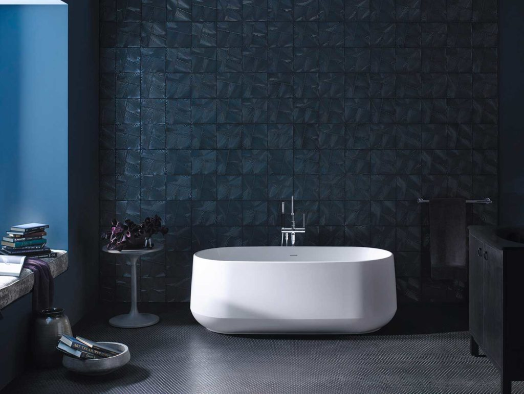 KOHLER's new freestanding baths, Ceric and Veil, are made from a new solid cast resin material that allows for new geometries, textures and designs to emerge.