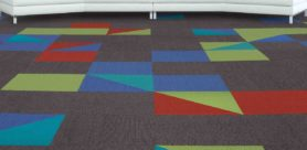 Van Dyck Floors recently launched 'Glow' and 'Design Shapes', commercial carpet tiles that come in an eclectic assortment of shapes and colours.