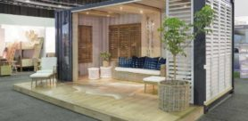 Plantation Shutters built its new exhibition stand from a repurposed utilitarian high-cube shipping container.