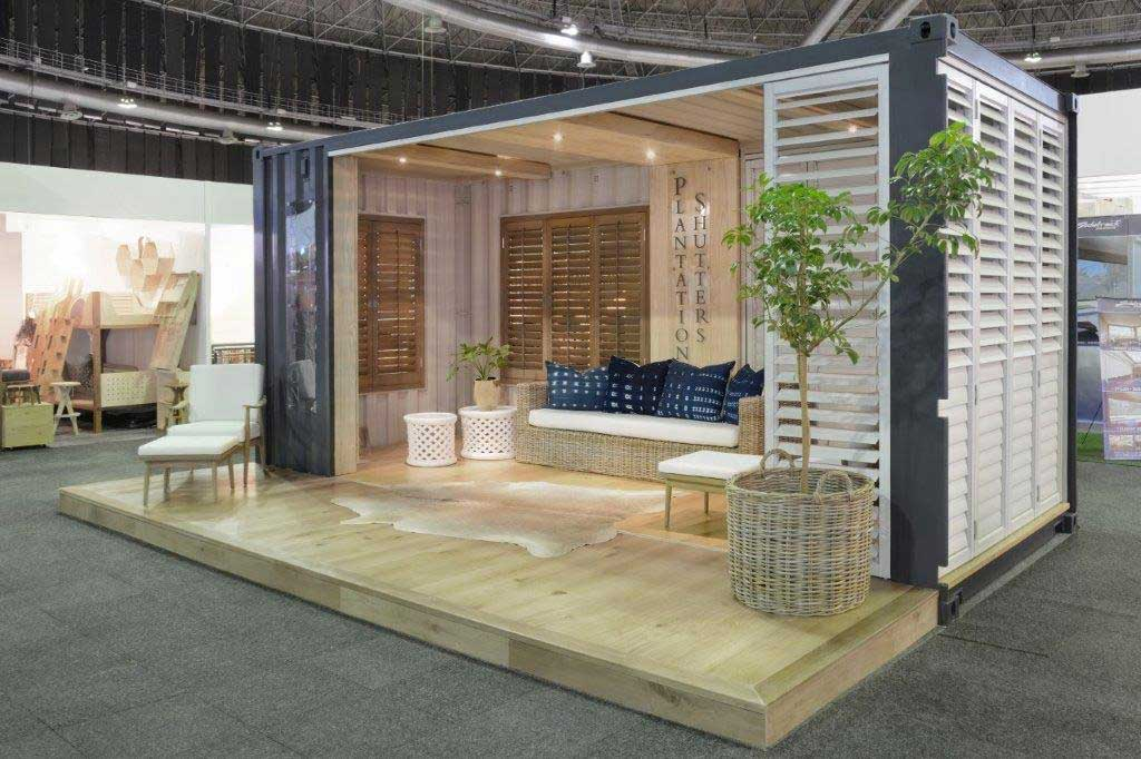 Expo Stands Cape Town : Plantation shutters builds shipping container expo stand