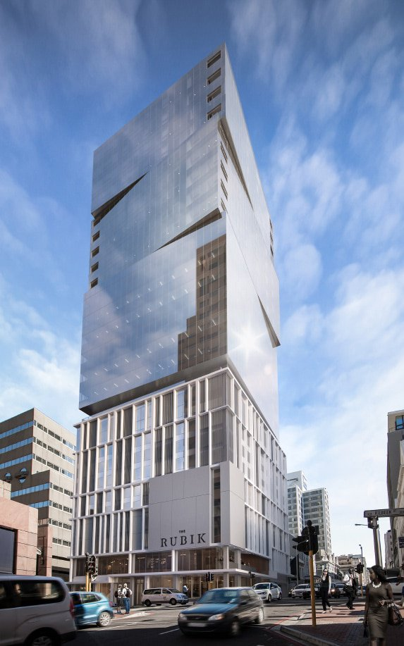 "The Rubik, designed by DHK Architects and developed by Abland, consists of premium residential apartments above luxury offices and high-end retail space, housed within a distinctive modern glass-clad ""tiered"" building."