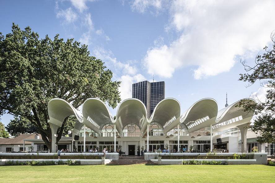 The undulating form of the new pavilion over the northern terrace at the Country Club Johannesburg in Auckland Park, designed by Rebel Base Collective, adds to the layered conversation of the club's architectural heritage.