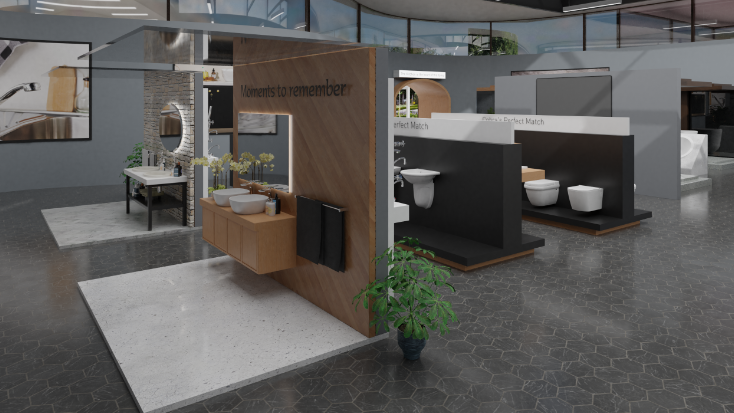 The showroom uses 3D renderings and videos to create a virtual space that feels tangible and real.