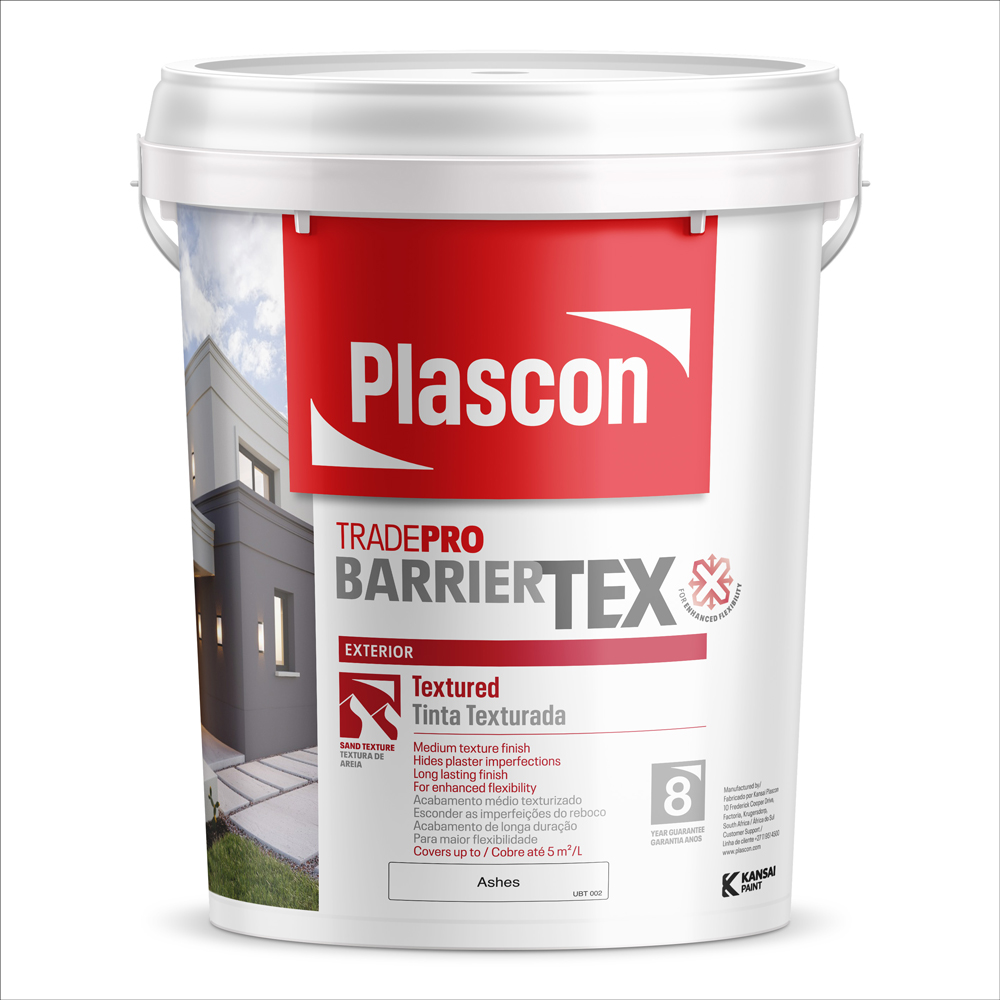 New Plascon TradePro BarrierTEX is a textured paint for exterior walls that protects your home for longer.
